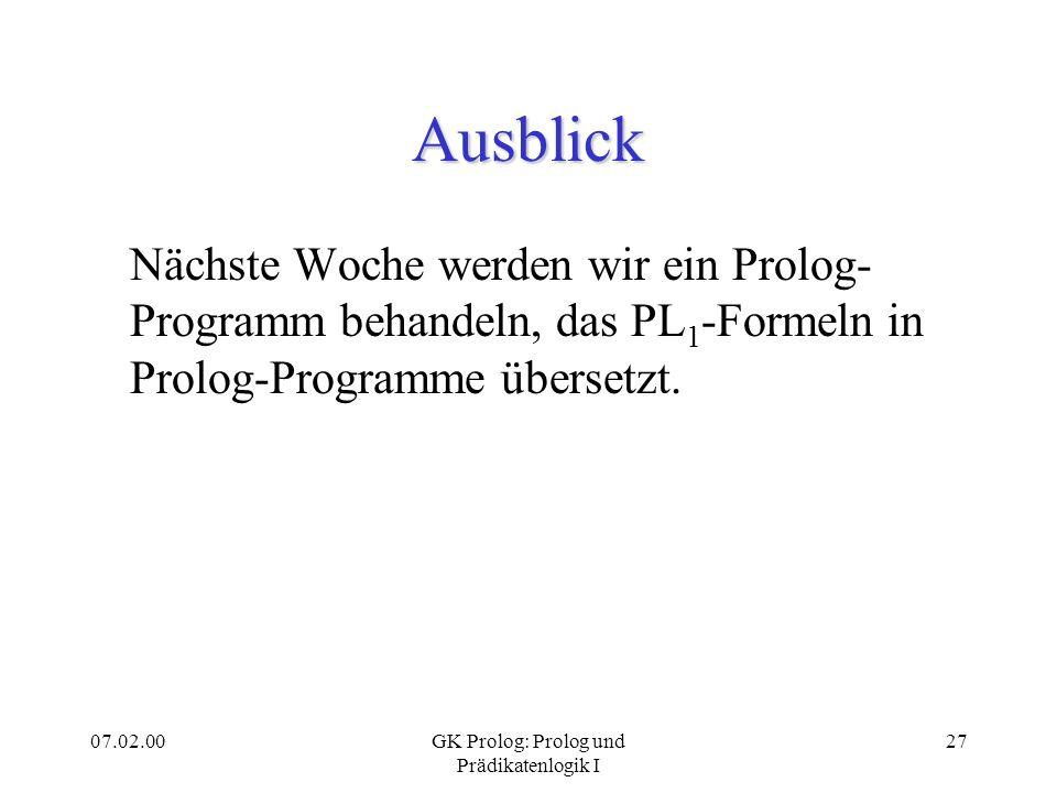 GK Prolog: Prolog und Prädikatenlogik I