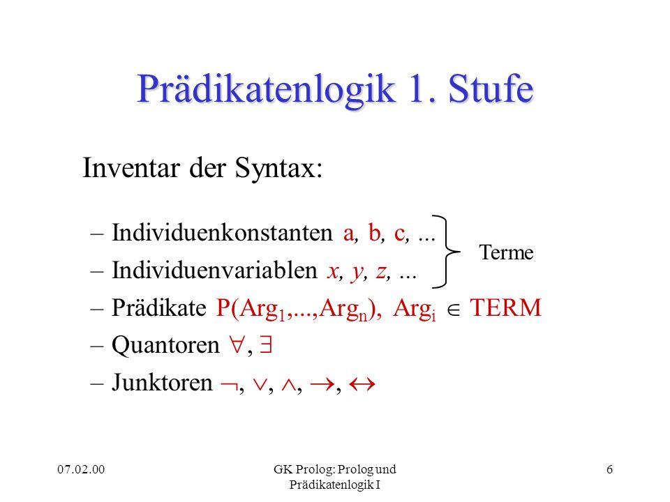 Prädikatenlogik 1. Stufe