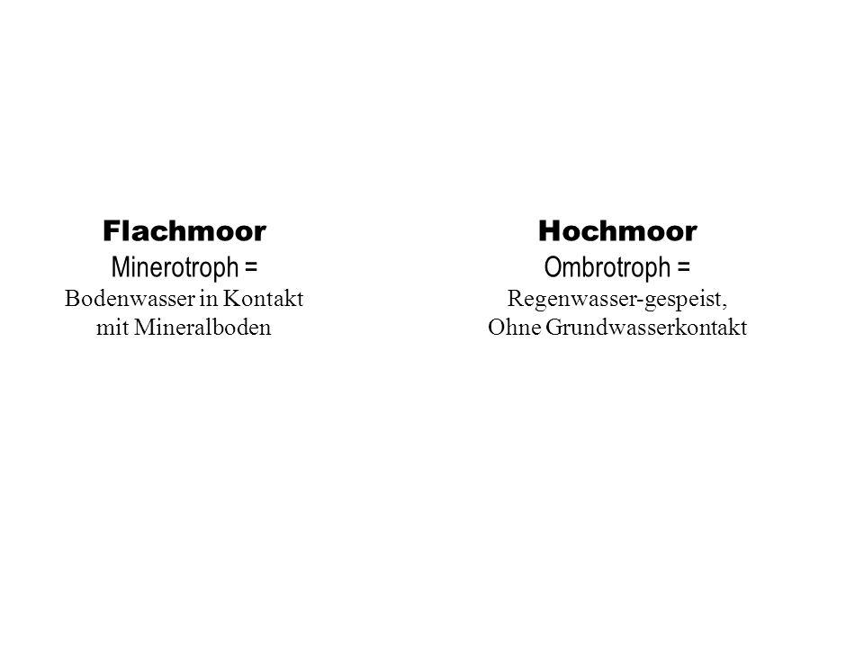 Flachmoor Minerotroph = Hochmoor Ombrotroph =