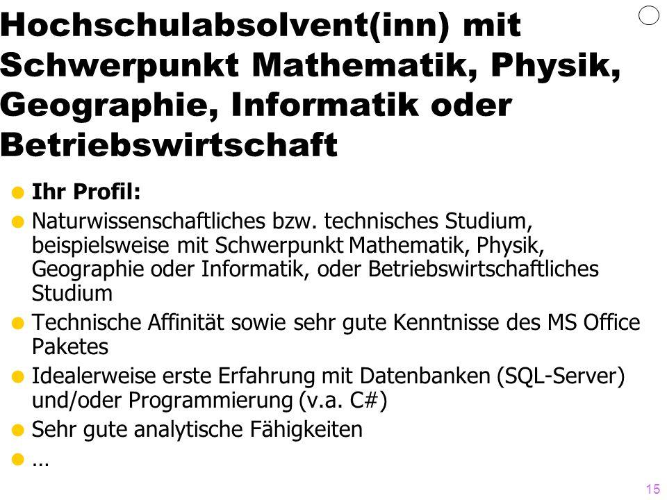 Hochschulabsolvent(inn) mit Schwerpunkt Mathematik, Physik, Geographie, Informatik oder Betriebswirtschaft