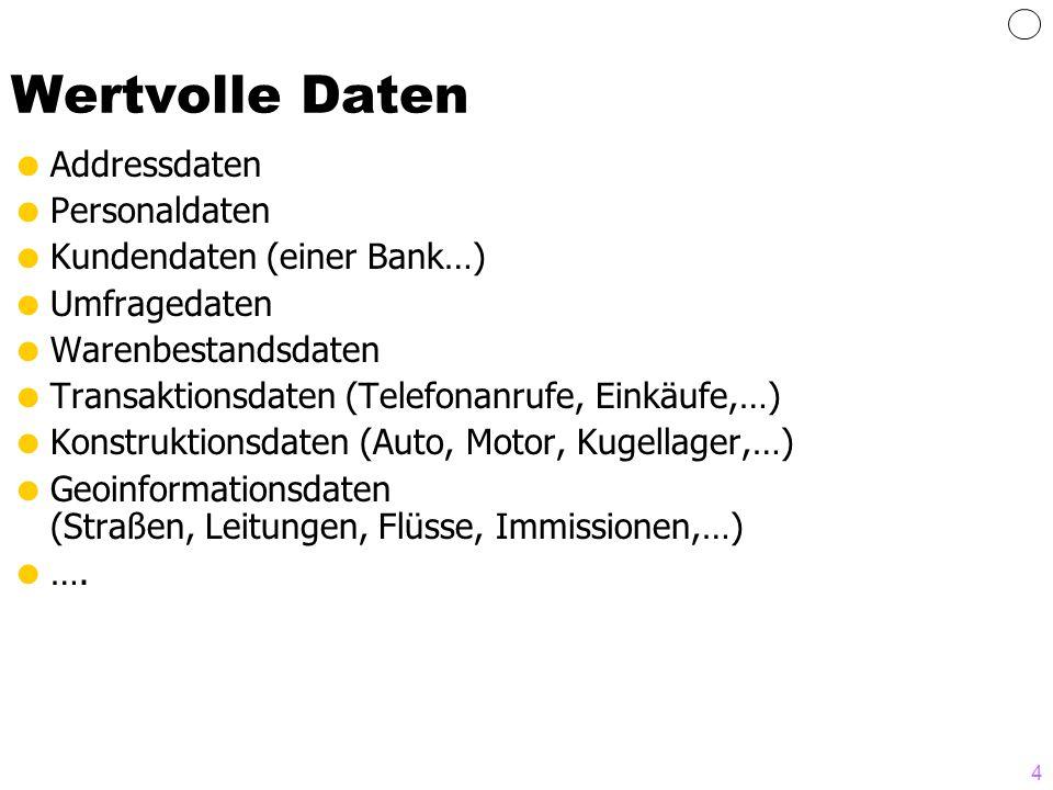Wertvolle Daten Addressdaten Personaldaten Kundendaten (einer Bank…)