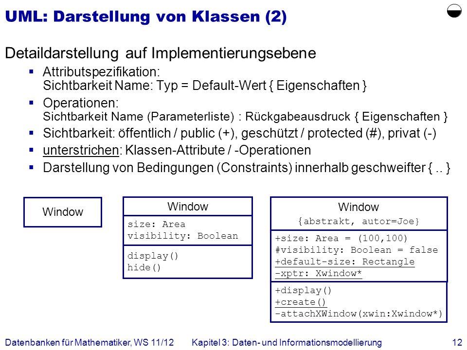 UML: Darstellung von Klassen (2)
