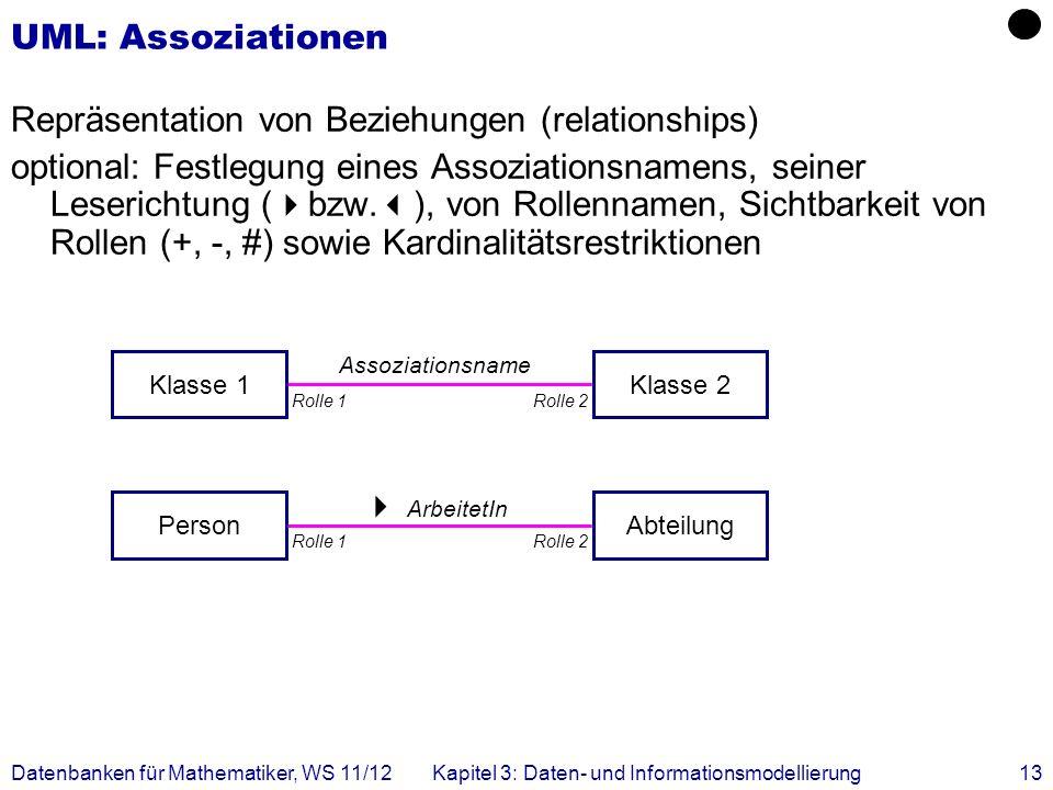 Repräsentation von Beziehungen (relationships)