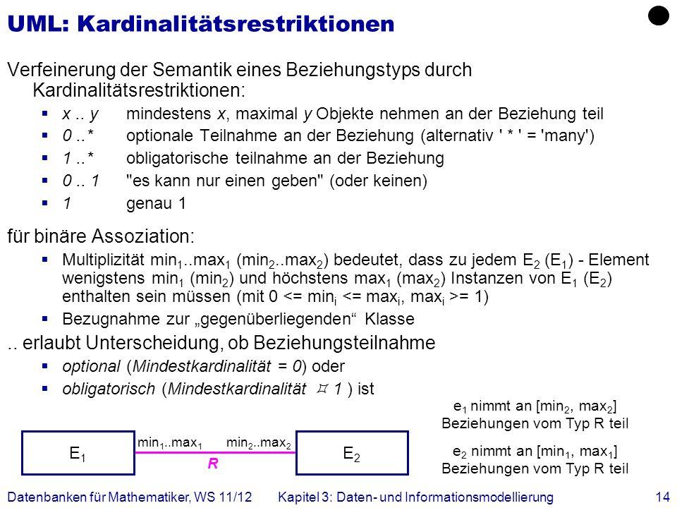 UML: Kardinalitätsrestriktionen