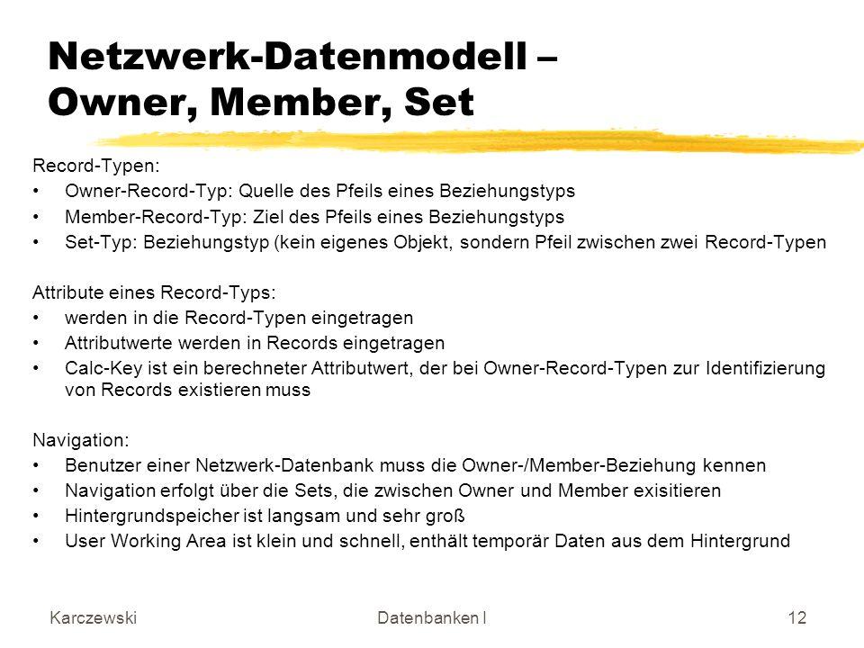 Netzwerk-Datenmodell – Owner, Member, Set