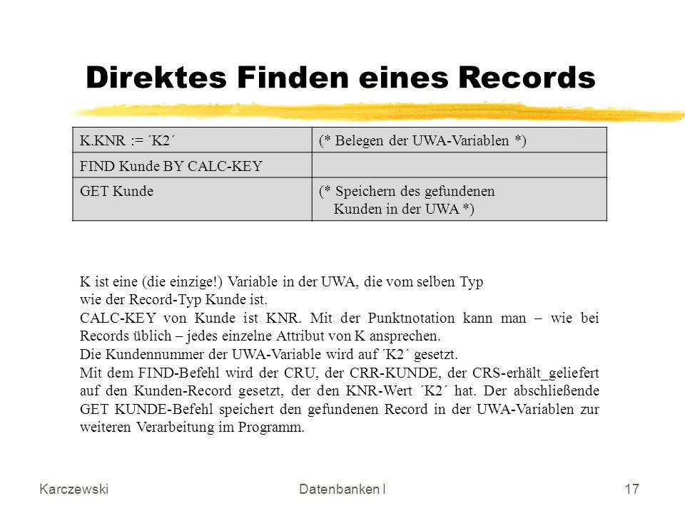 Direktes Finden eines Records