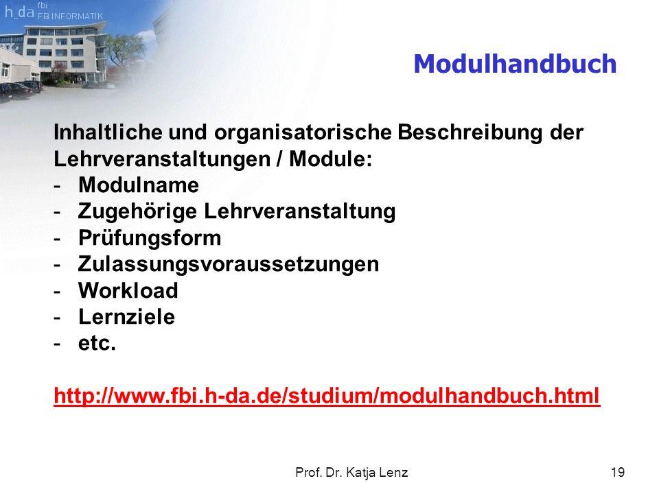 Modulhandbuch Inhaltliche und organisatorische Beschreibung der