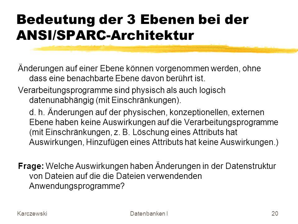 Bedeutung der 3 Ebenen bei der ANSI/SPARC-Architektur