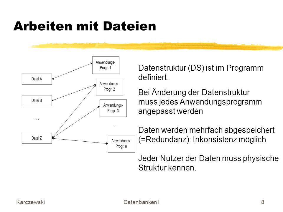 Arbeiten mit Dateien Datenstruktur (DS) ist im Programm definiert.