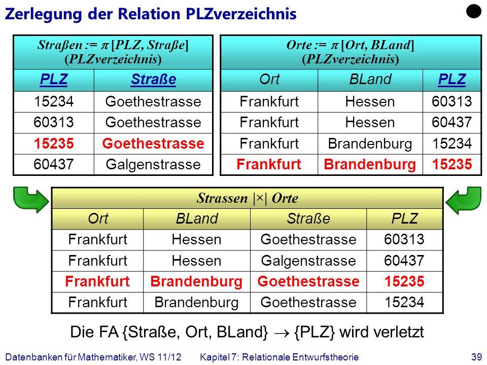 Zerlegung der Relation PLZverzeichnis