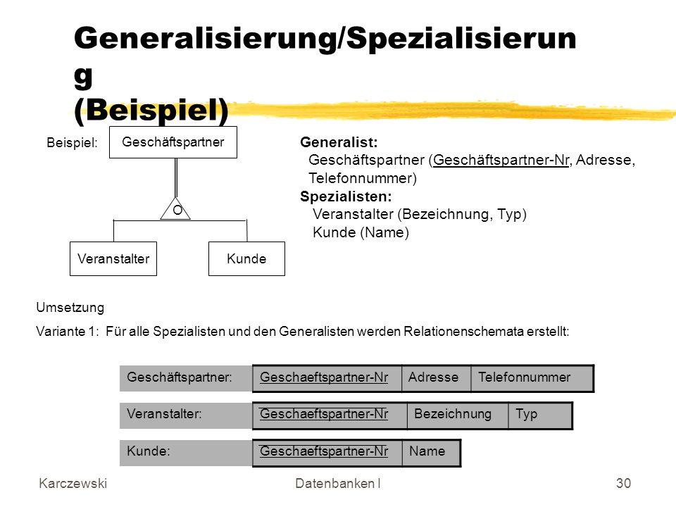 Generalisierung/Spezialisierung (Beispiel)