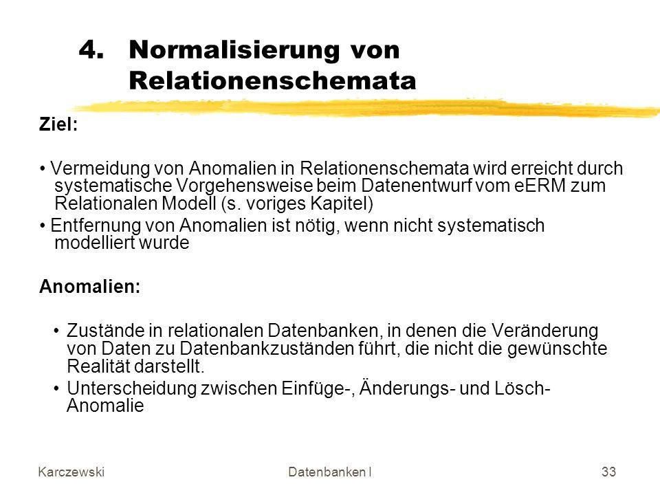Normalisierung von Relationenschemata