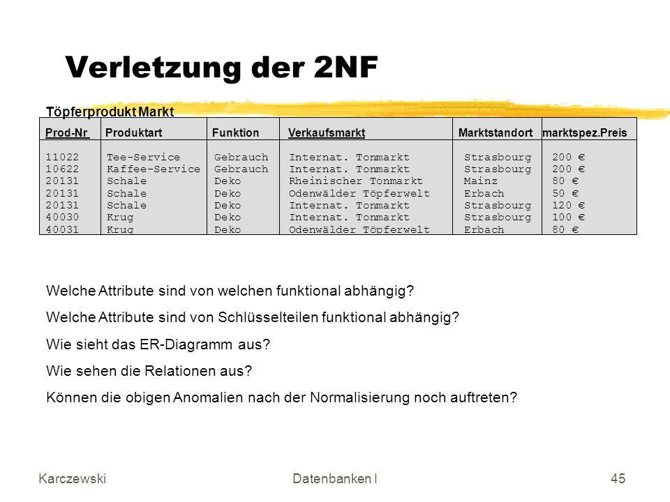 Einührung Verletzung der 2NF. Töpferprodukt Markt.