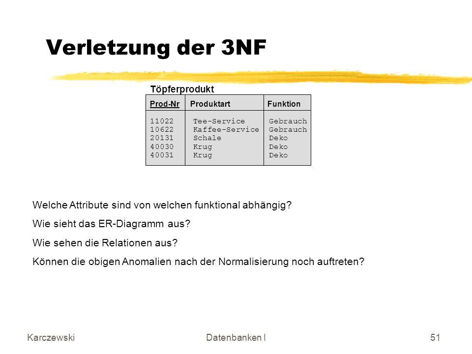 Einührung Verletzung der 3NF. Töpferprodukt. Prod-Nr Produktart Funktion. 11022 Tee-Service Gebrauch.