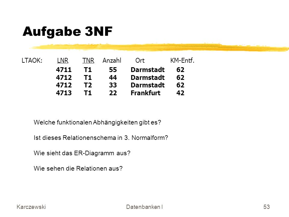 Aufgabe 3NF LTAOK: LNR TNR Anzahl Ort KM-Entf.