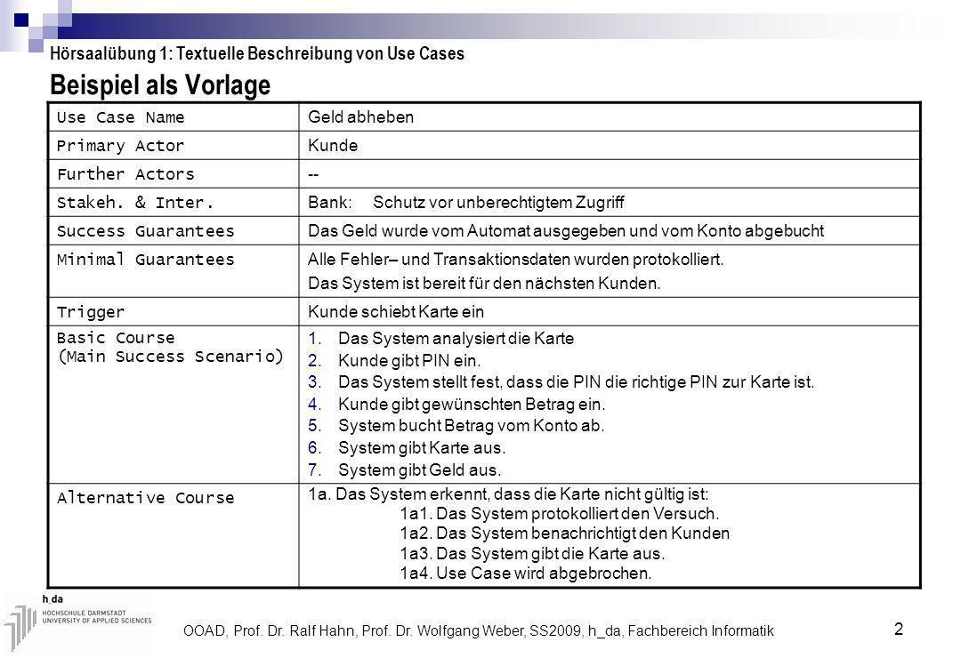 Hörsaalübung 1: Textuelle Beschreibung von Use Cases
