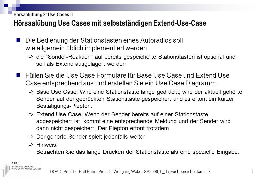 Hörsaalübung Use Cases mit selbstständigen Extend-Use-Case