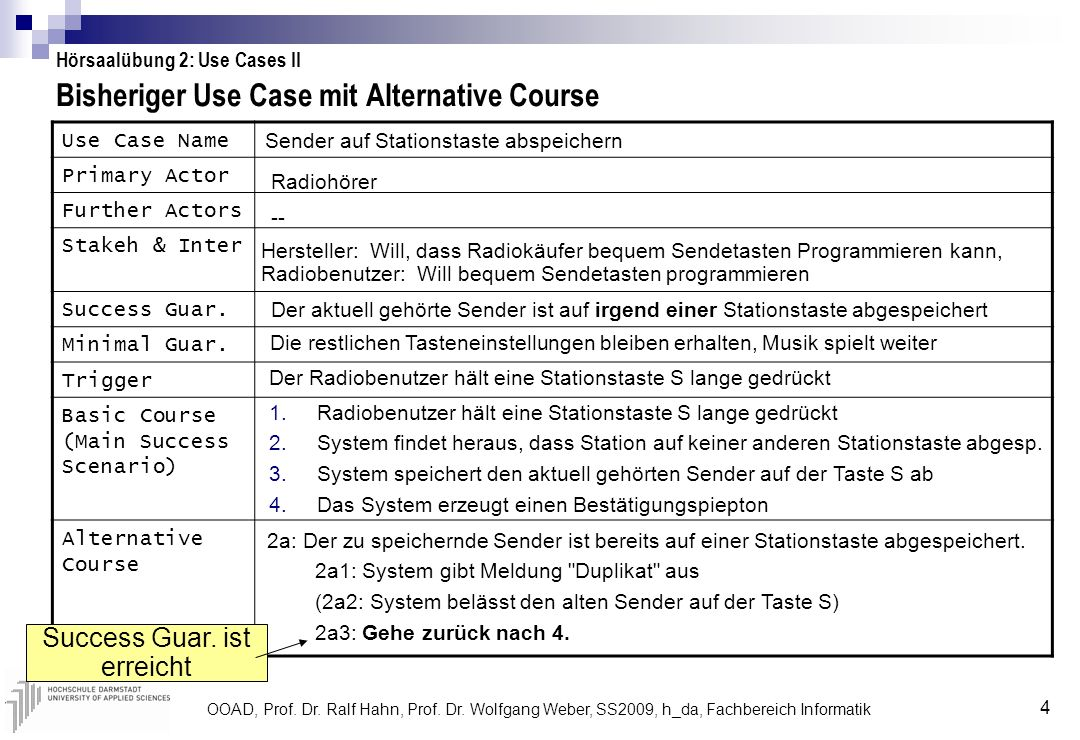 Bisheriger Use Case mit Alternative Course