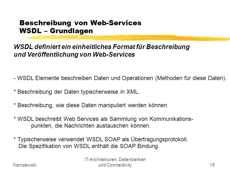 Beschreibung von Web-Services WSDL – Grundlagen