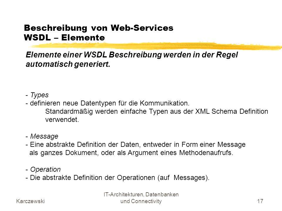 Beschreibung von Web-Services WSDL – Elemente