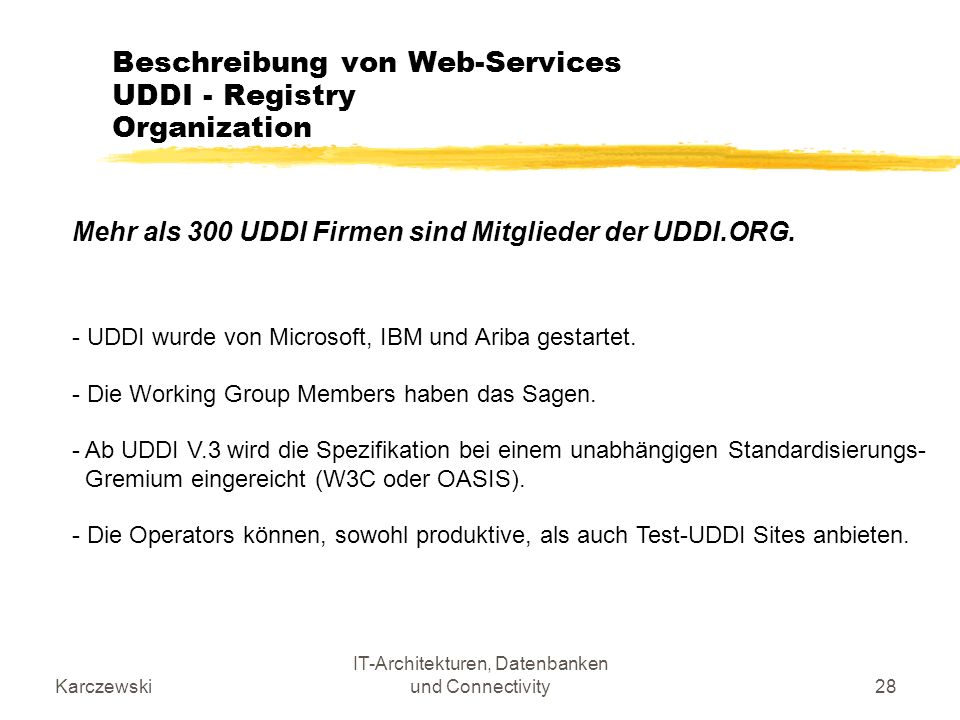 Beschreibung von Web-Services UDDI - Registry Organization