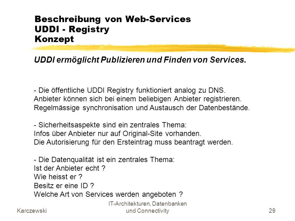 Beschreibung von Web-Services UDDI - Registry Konzept