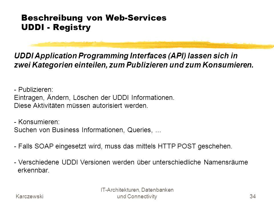 Beschreibung von Web-Services UDDI - Registry