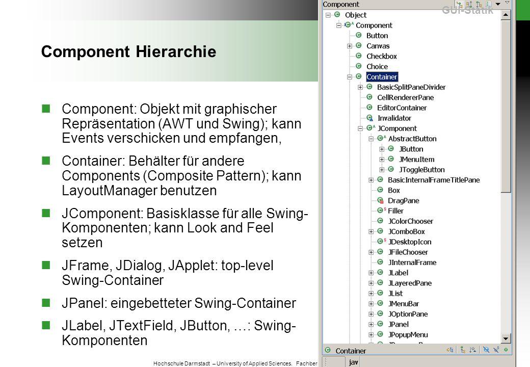 GUI-Statik Component Hierarchie. Component: Objekt mit graphischer Repräsentation (AWT und Swing); kann Events verschicken und empfangen,