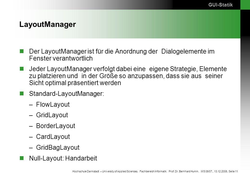 GUI-Statik LayoutManager. Der LayoutManager ist für die Anordnung der Dialogelemente im Fenster verantwortlich.