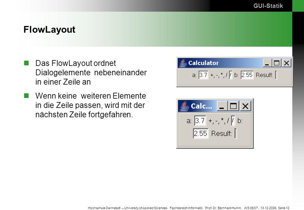 GUI-Statik FlowLayout. Das FlowLayout ordnet Dialogelemente nebeneinander in einer Zeile an.