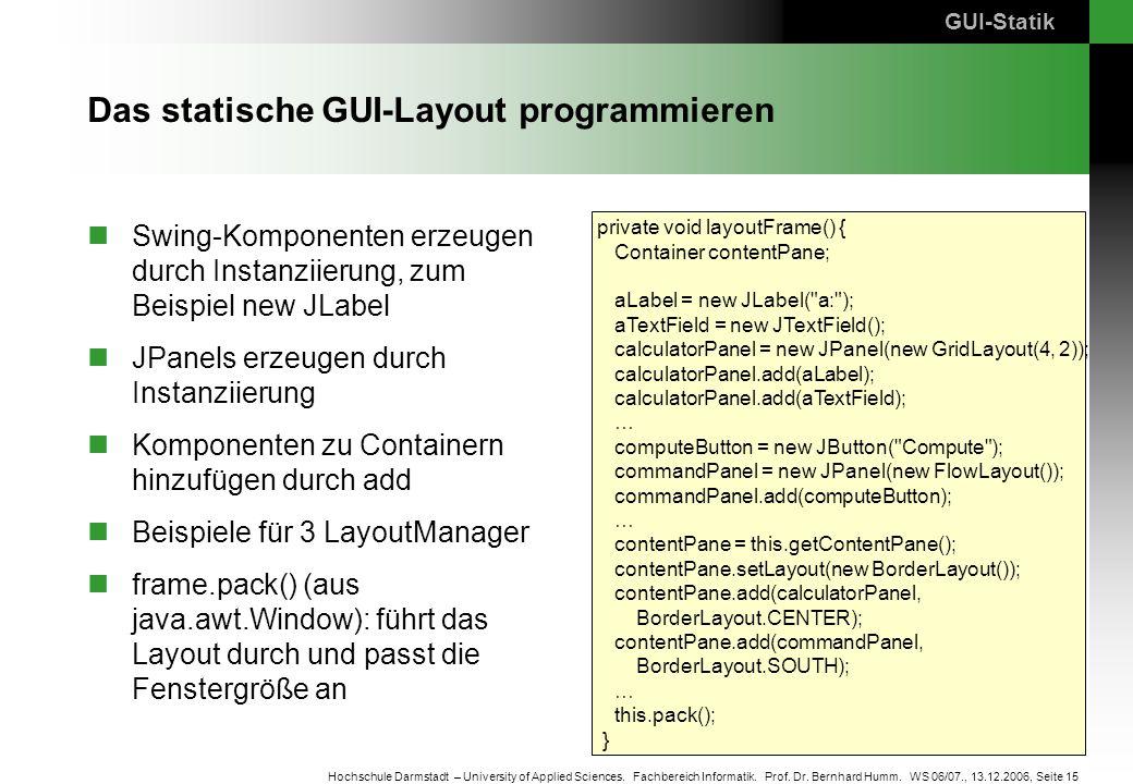Das statische GUI-Layout programmieren