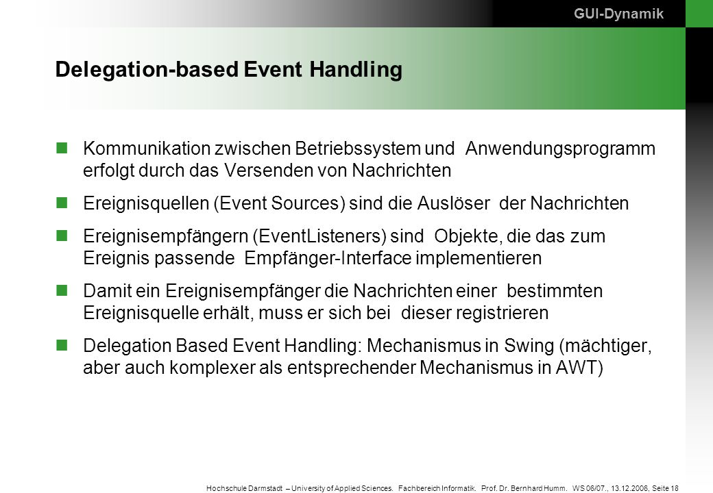 Delegation-based Event Handling