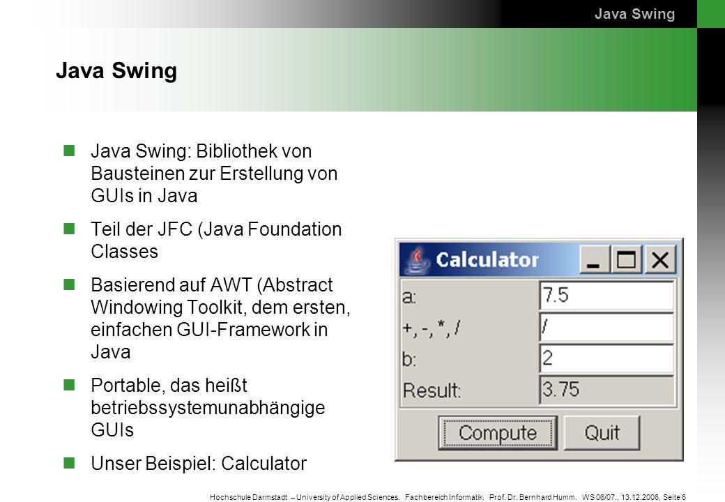 Java Swing Java Swing. Java Swing: Bibliothek von Bausteinen zur Erstellung von GUIs in Java. Teil der JFC (Java Foundation Classes.