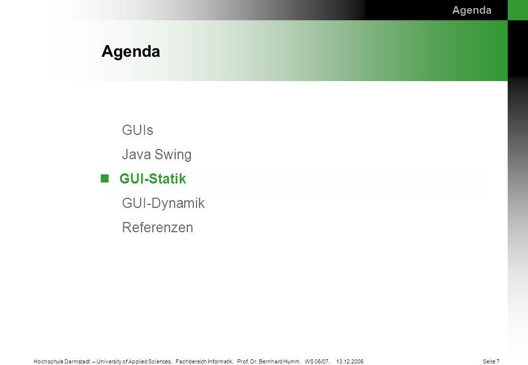 Agenda GUI-Statik Agenda