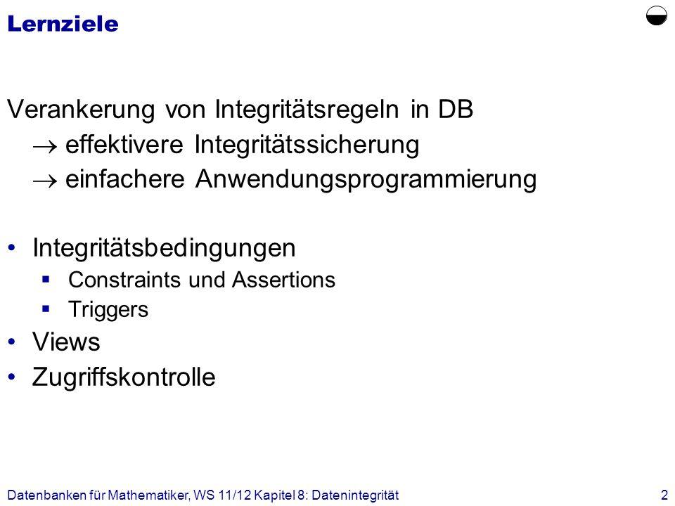  Verankerung von Integritätsregeln in DB