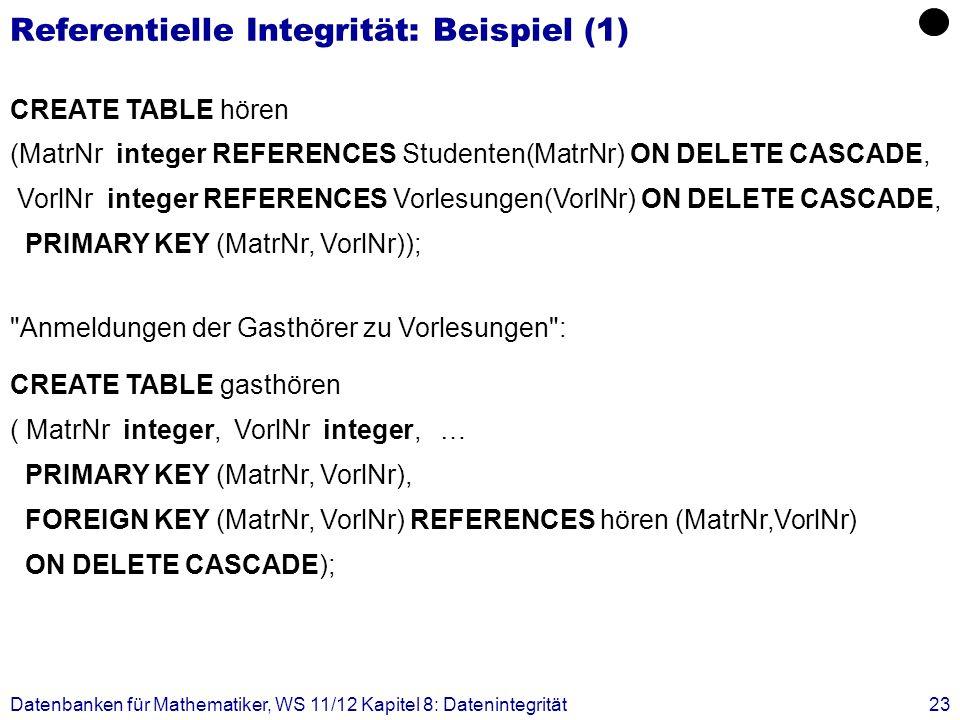 Referentielle Integrität: Beispiel (1)