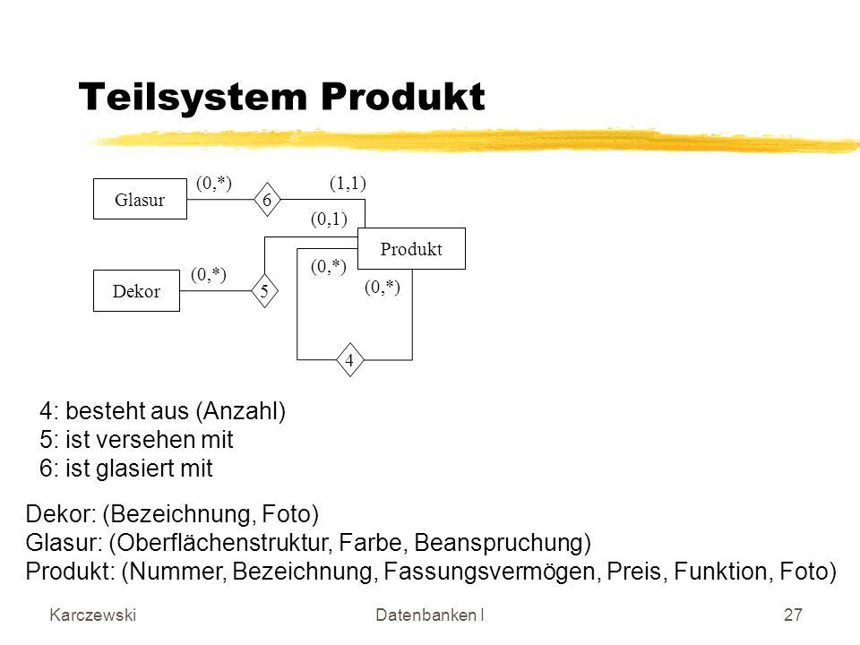 Teilsystem Produkt 4: besteht aus (Anzahl) 5: ist versehen mit