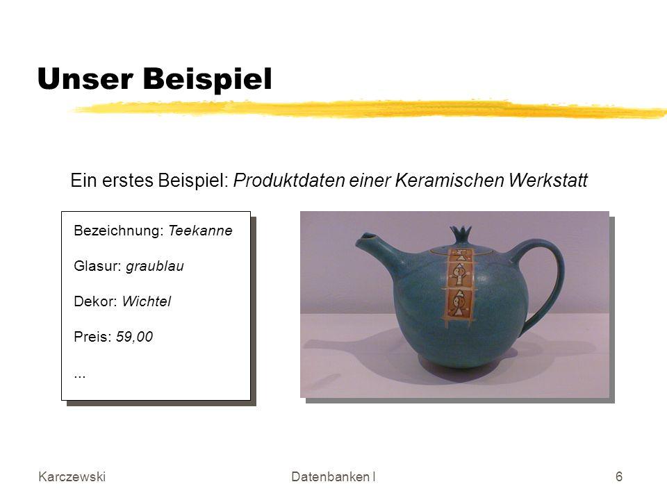 Unser Beispiel Ein erstes Beispiel: Produktdaten einer Keramischen Werkstatt. Bezeichnung: Teekanne.