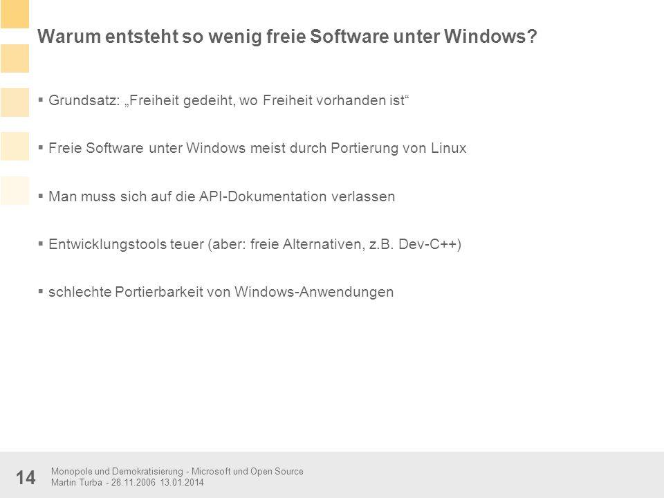 Warum entsteht so wenig freie Software unter Windows