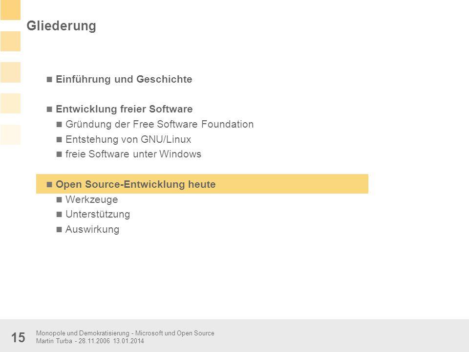 Gliederung Einführung und Geschichte Entwicklung freier Software