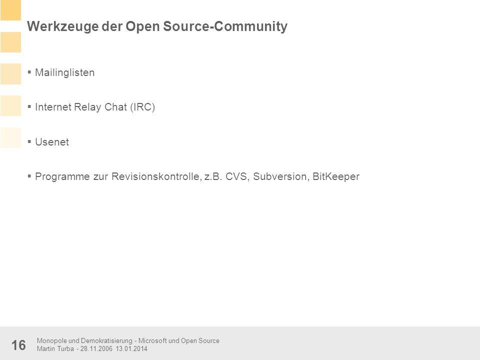 Werkzeuge der Open Source-Community