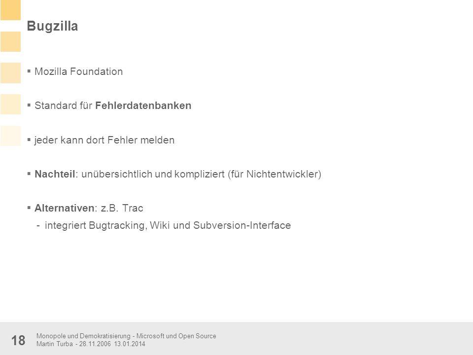 Bugzilla Mozilla Foundation Standard für Fehlerdatenbanken