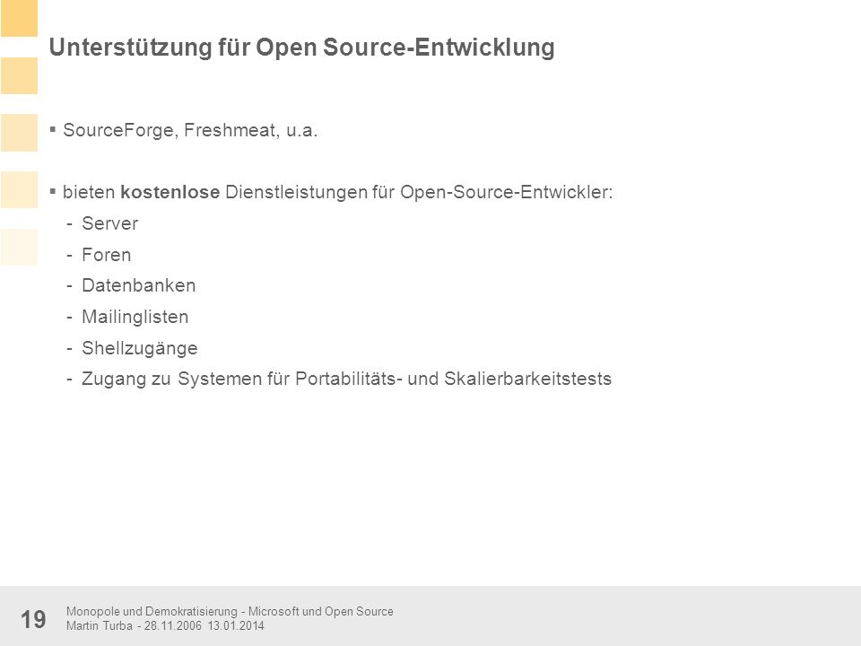 Unterstützung für Open Source-Entwicklung