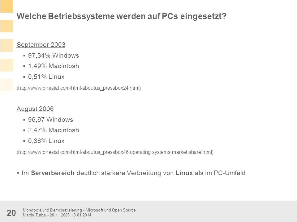 Welche Betriebssysteme werden auf PCs eingesetzt