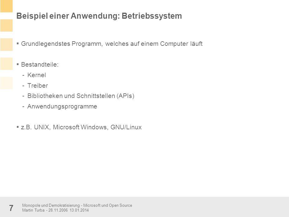 Beispiel einer Anwendung: Betriebssystem