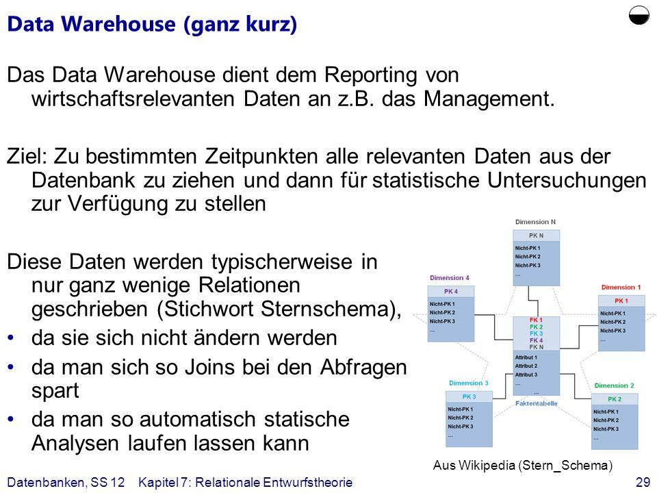 Data Warehouse (ganz kurz)