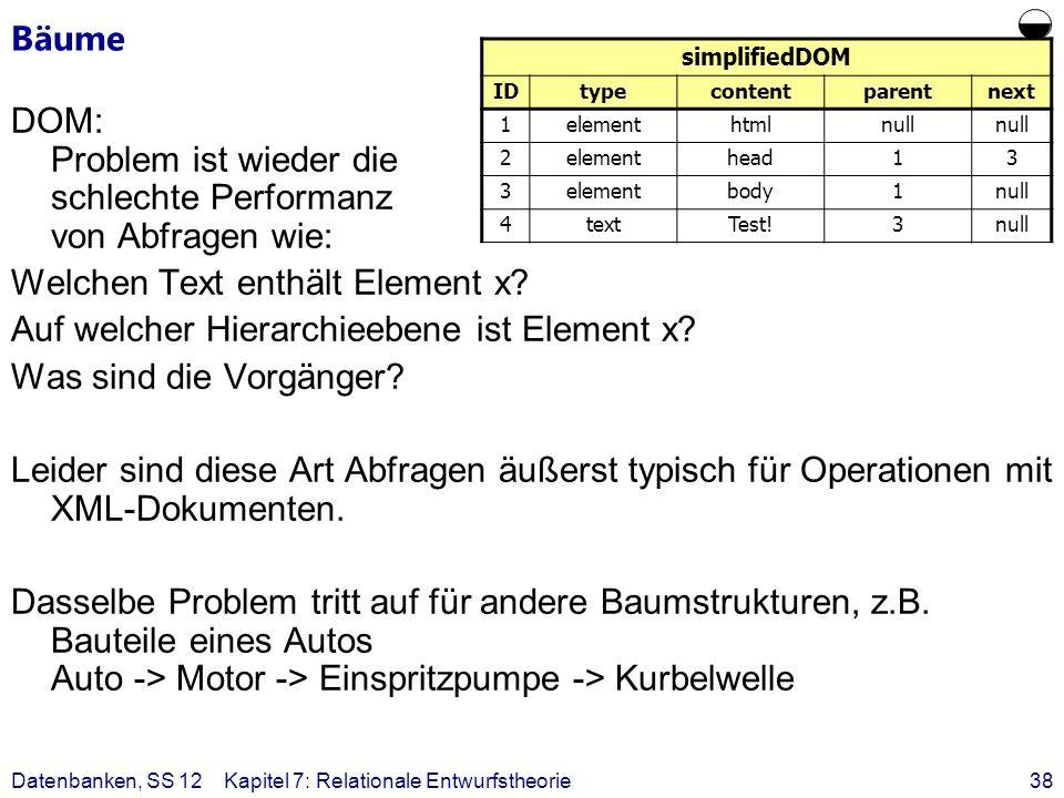 Bäume  simplifiedDOM. ID. type. content. parent. next. 1. element. html. null. 2. head.