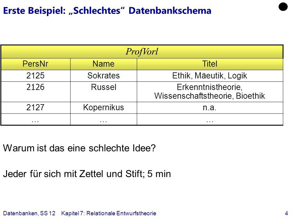 """Erste Beispiel: """"Schlechtes Datenbankschema"""
