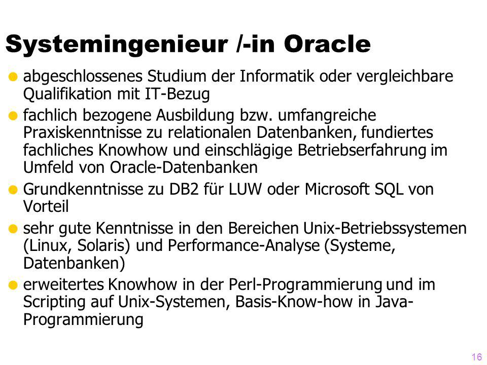 Systemingenieur /-in Oracle