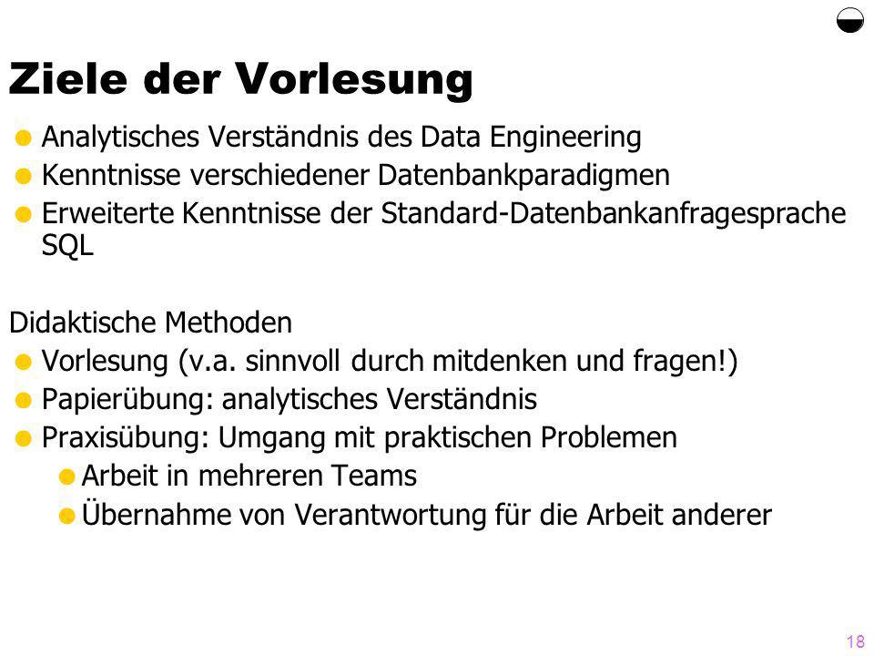 Ziele der Vorlesung  Analytisches Verständnis des Data Engineering